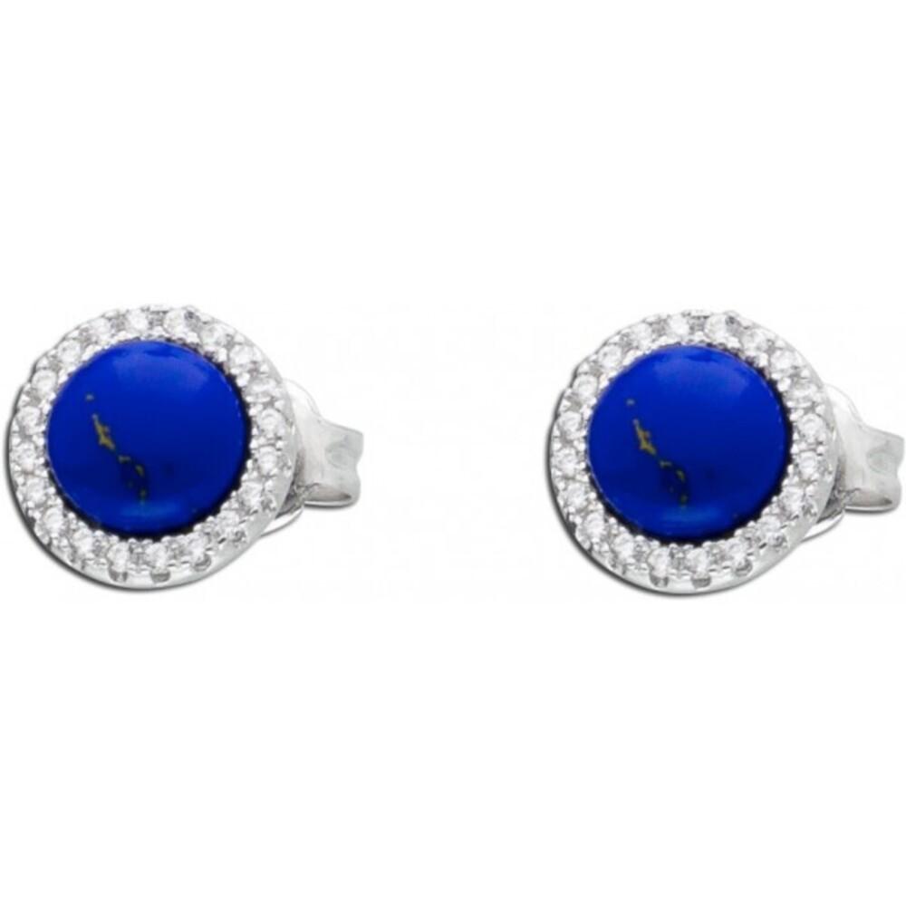 Ohrringe blau Silber 925 Edelstein Ohrstecker Lapislazuli Zirkonia_01