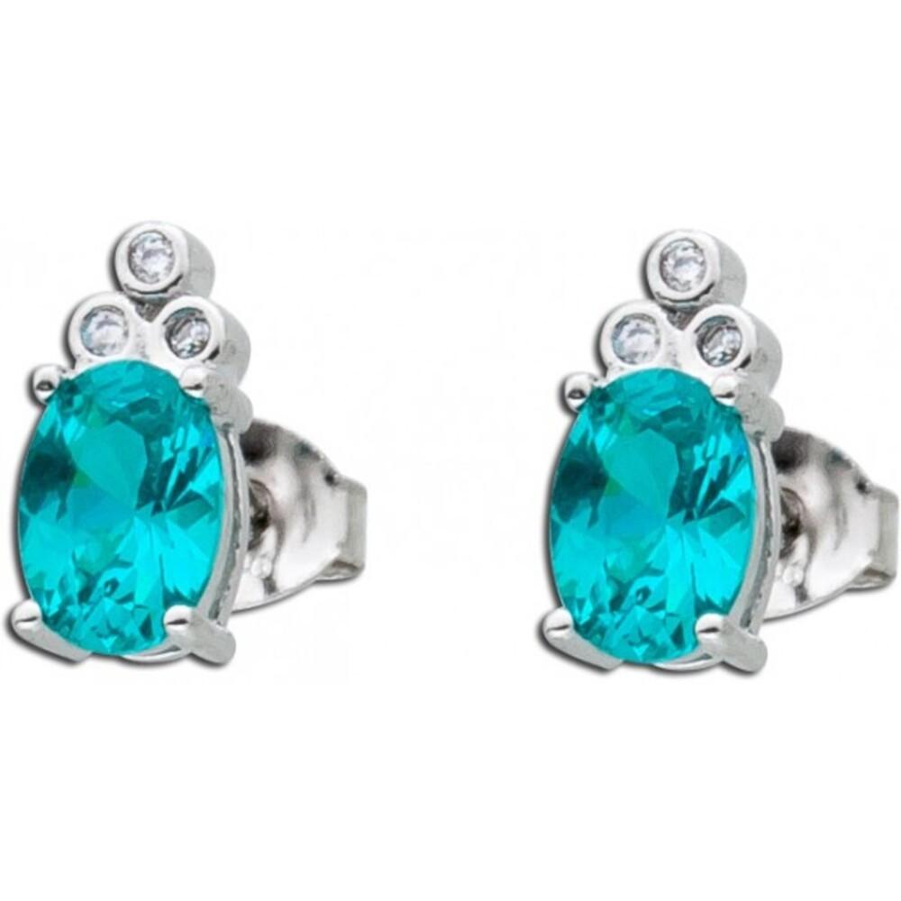 Blauer Turmalin paraiba Ohrstecker Silber 925 türkis farbener Ohrring synt 1