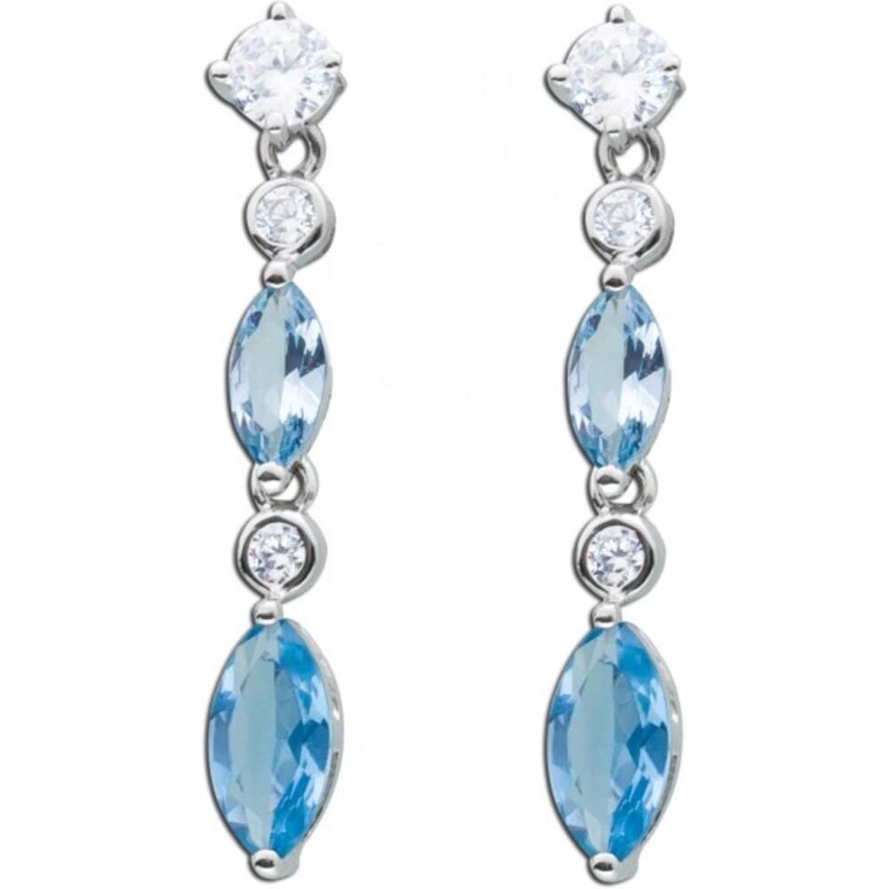 Ohrstecker blau aquamarin Ohrhänger blauer Spinell Silber 925 klare Zirkonia 1