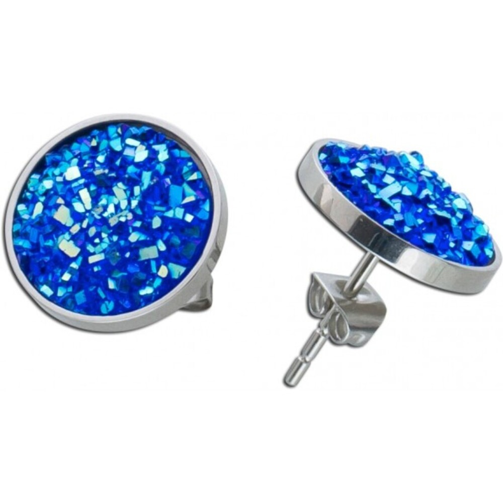 Ohrstecker Edelstahl blaue Kristalle 13mm