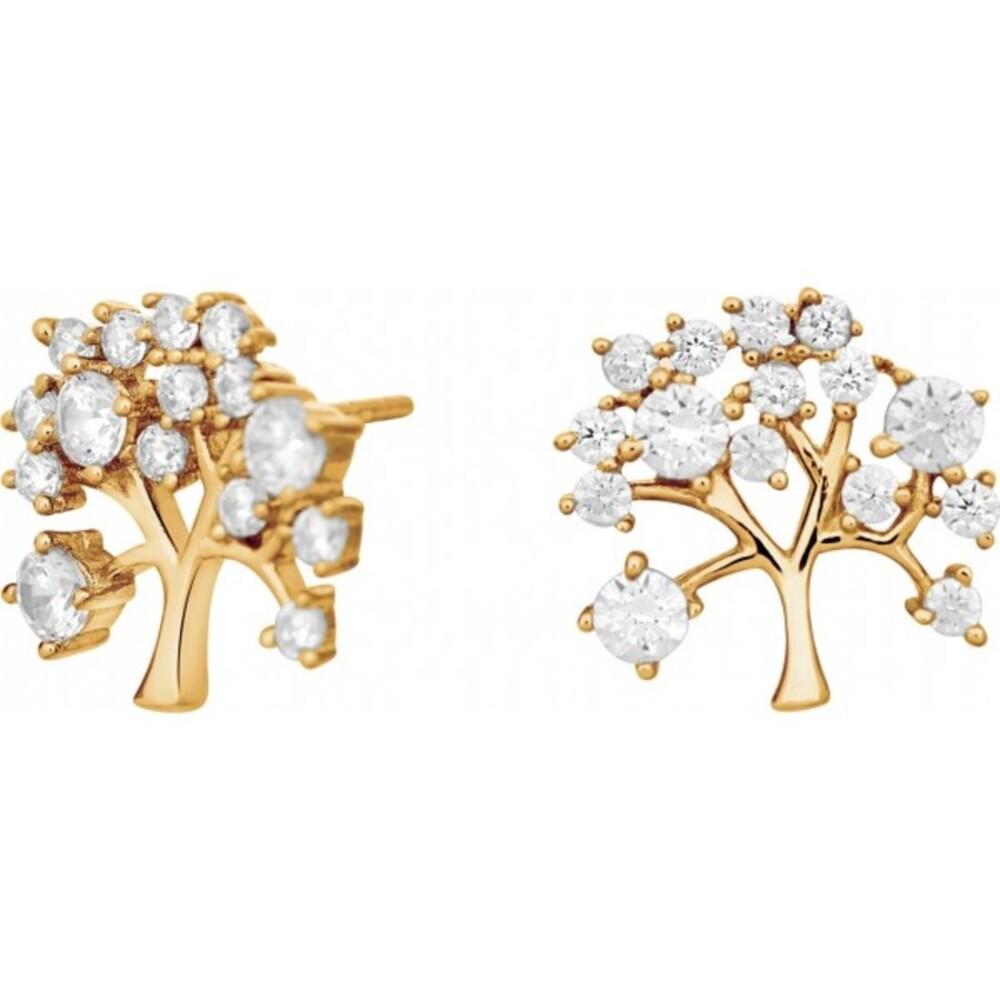 JOANLI NOR Ohrstecker Lebensbaum Silber 925 vergoldet klare Zirkonia Ohrringe 10mm Durchmesser Cleo 345 162-3