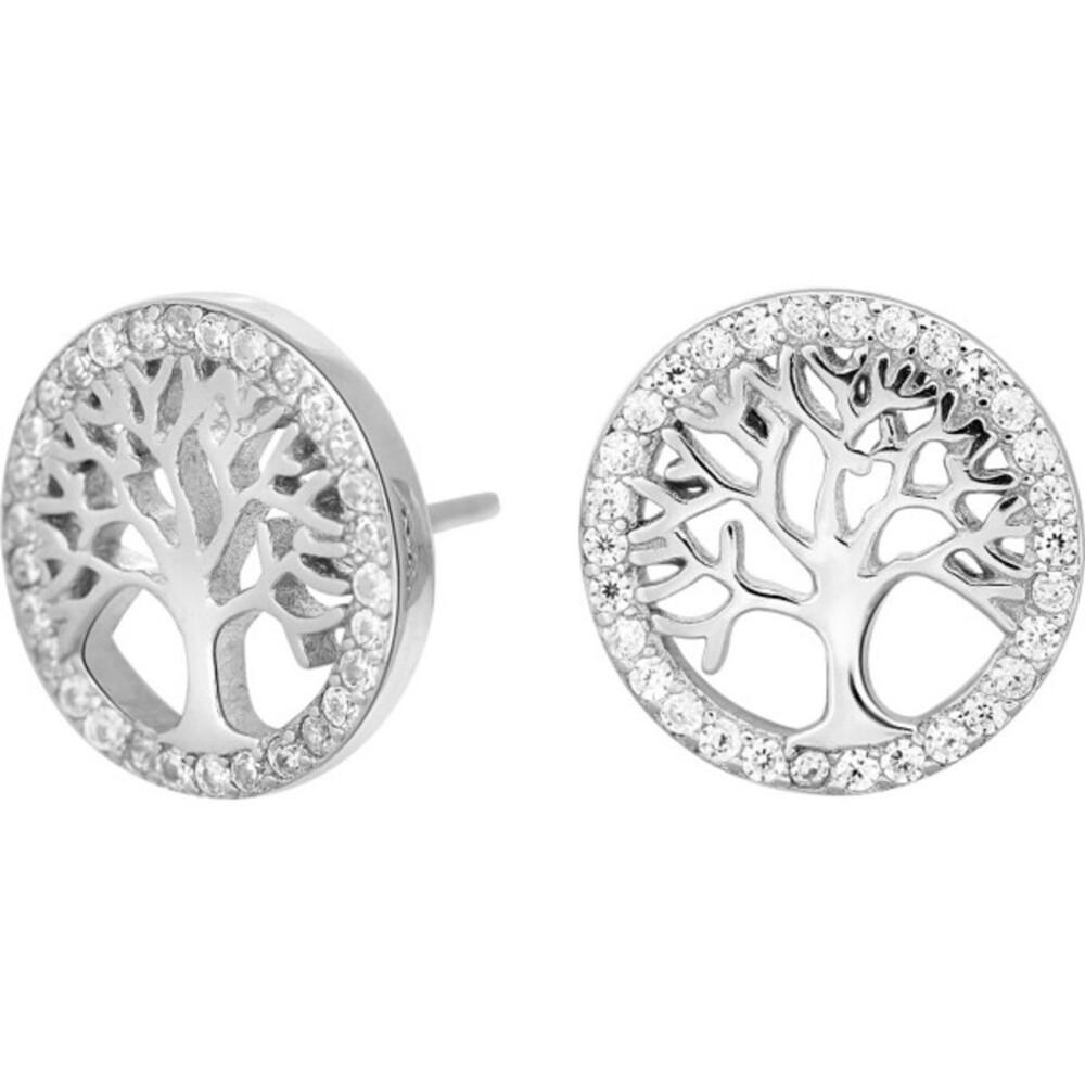 JOANLI NOR Ohrstecker Lebensbaum Silber 925 klare Zirkonia Ohrringe 12mm Durchmesser Caia 345 165