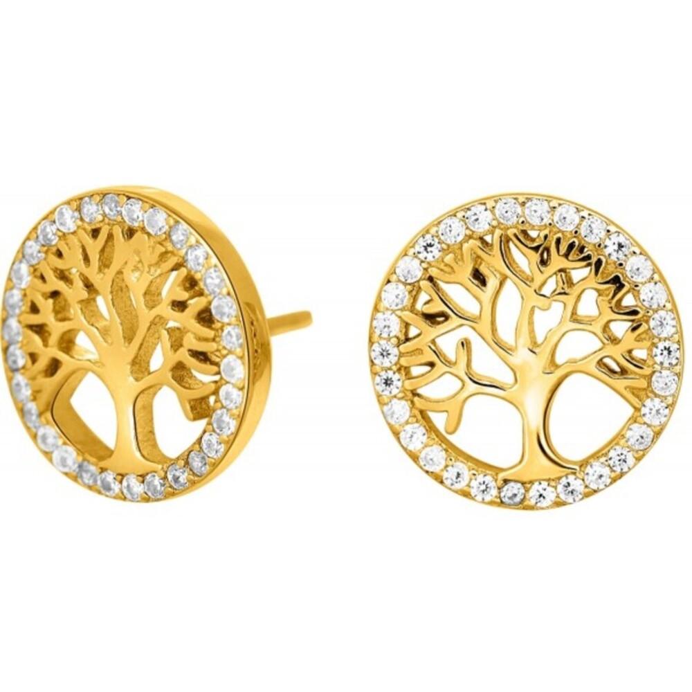 JOANLI NOR Ohrstecker Lebensbaum Silber 925 vergoldet klare Zirkonia Ohrringe 12mm Durchmesser Caia 345 165-3