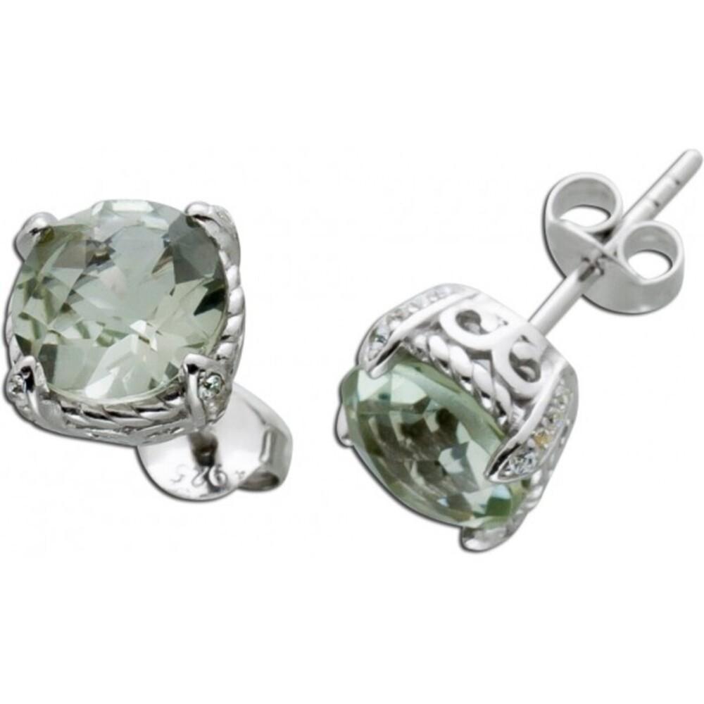 Edelstein Ohrstecker grünen runden Amethyst Silber 925 Zirkonia 1