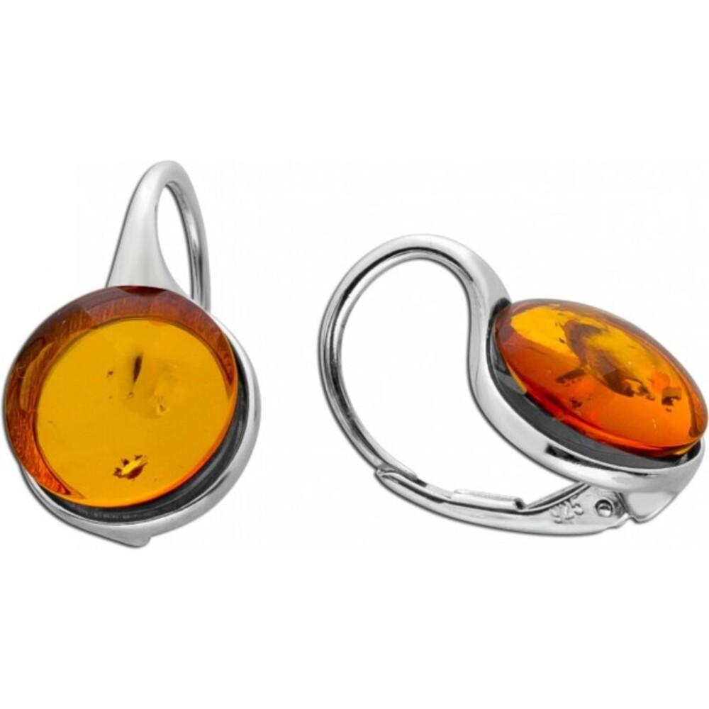 Edelstein Ohrhänger Ohrringe Silber 925 brauner Bernstein Brisurverschluss