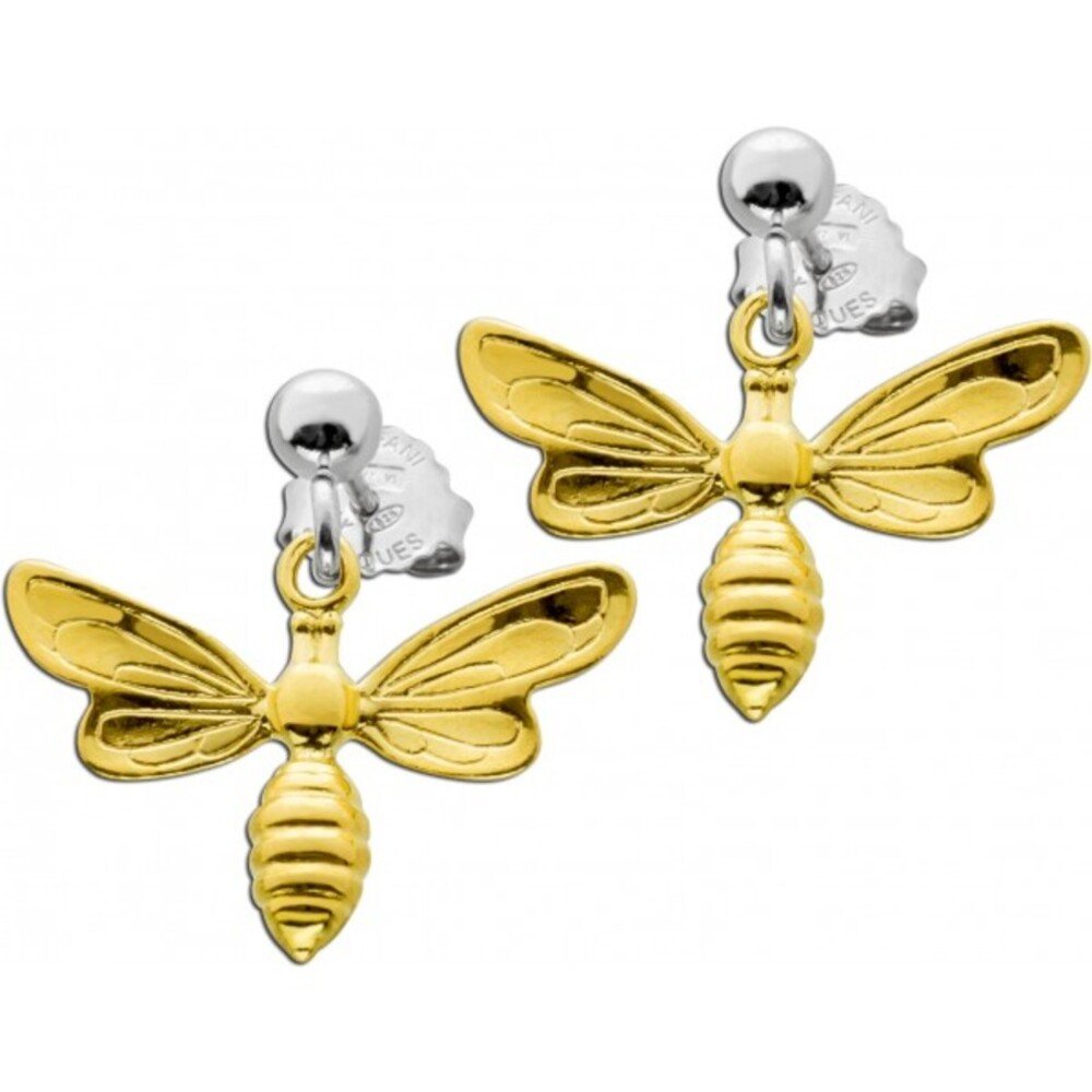 Bienen Ohrstecker Silber 925 teils vergoldet Damen Schmuck