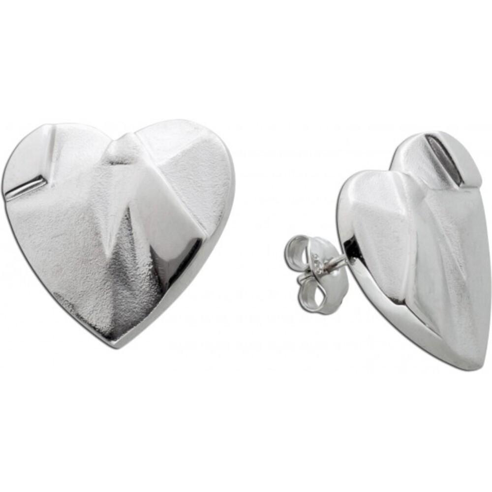 Herzschmuck Herz Ohrstecker Silber Herzohrringe strukturierte Oberfläche 18x18mm