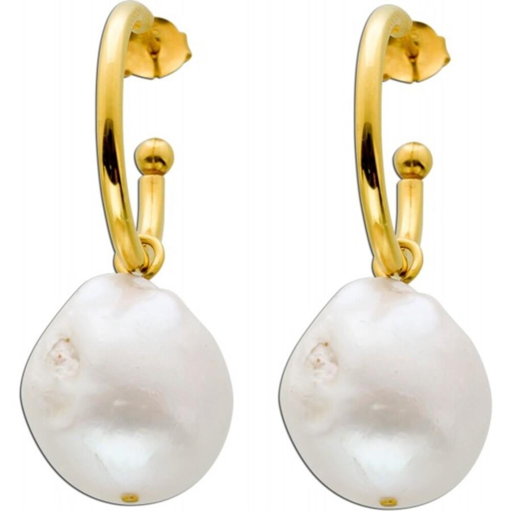 Creolen Ohrstecker Ohrringe Silber 925 vergoldet Süsswasserperle 17x16mm Damen
