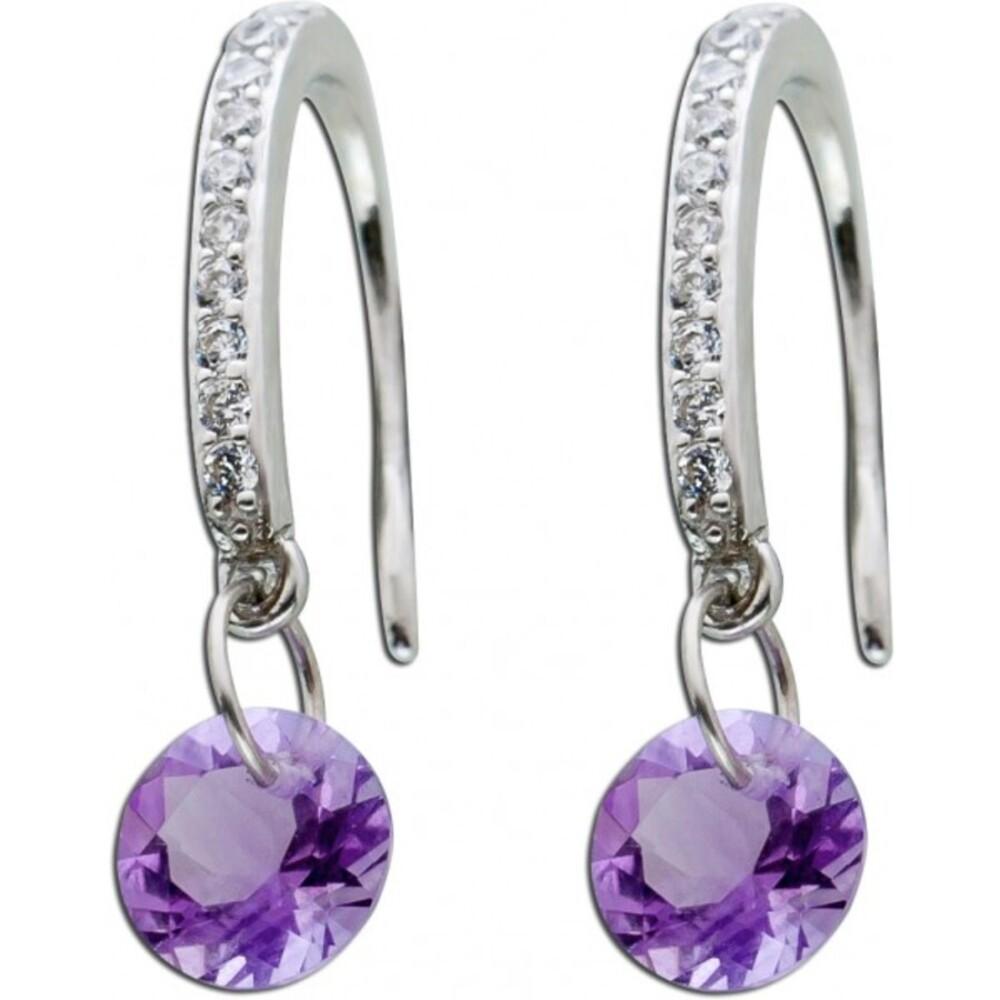 Violette lila Edelstein Zirkonia Ohrringe Ohrhänger Silber 925 beweglicher Amethyst_01