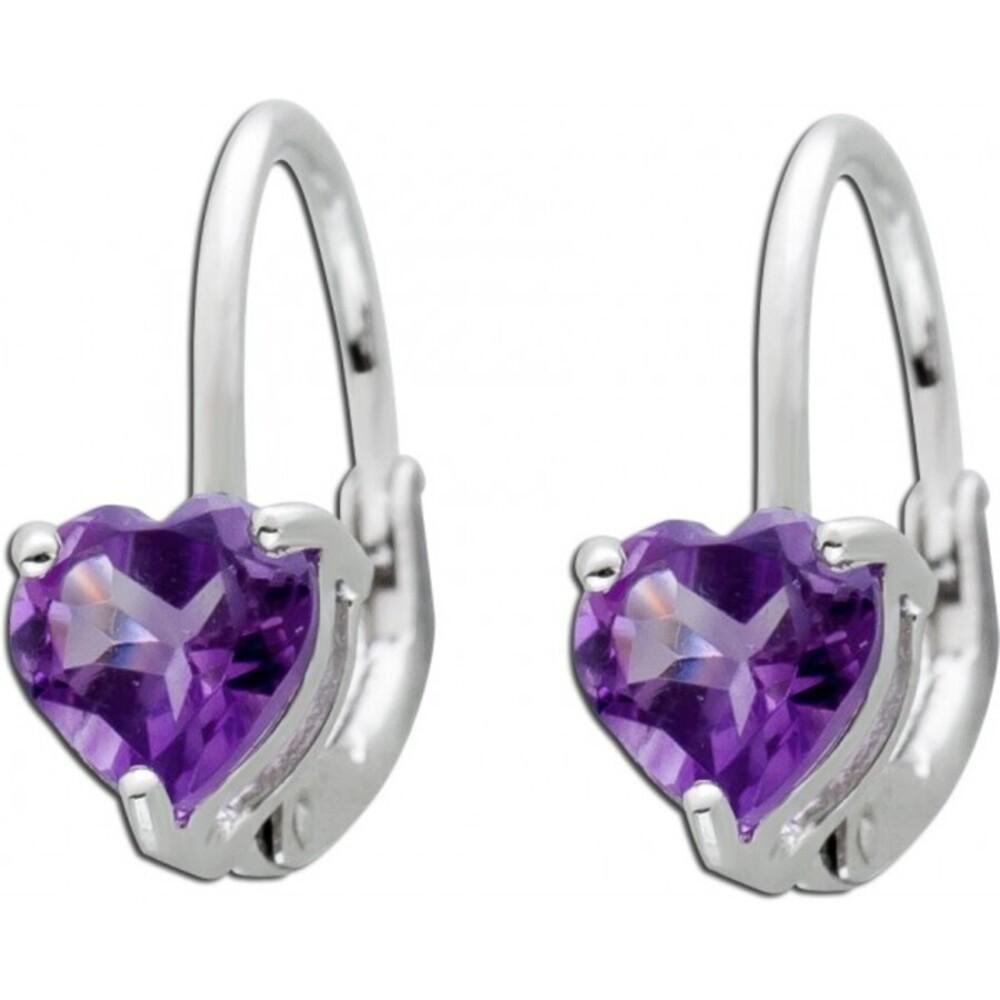Violette Herz Ohrringe Ohrhänger Silber 925 Brisur Herzschliff Amethyst_01