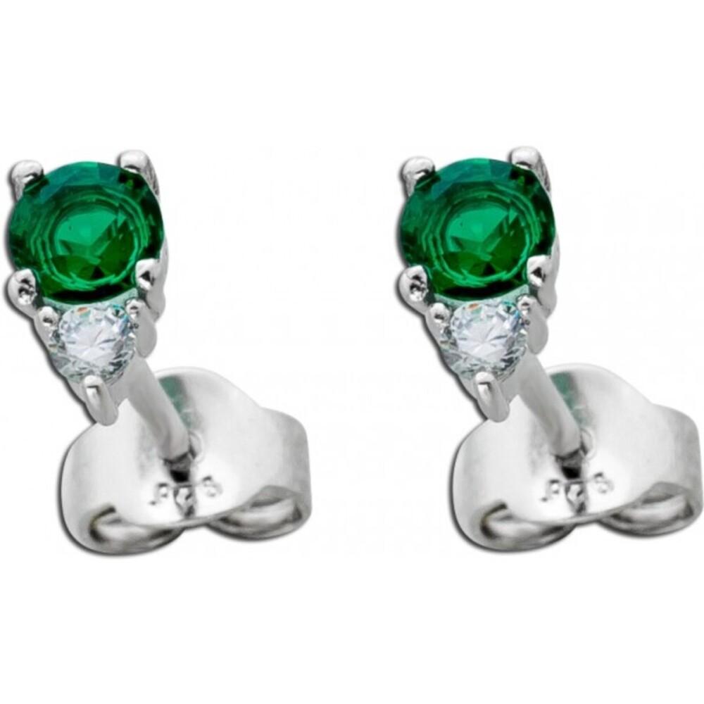 Smaragd Ohrringe Edelstein Ohrstecker Silber 925 weisser Zirkonia grüner Smaragd