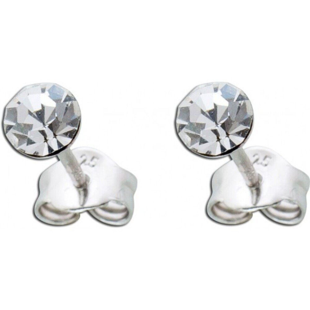 Ohrstecker Ohrringe Silber 925 rund weißer Zirkonia Damen Kinder 4mm