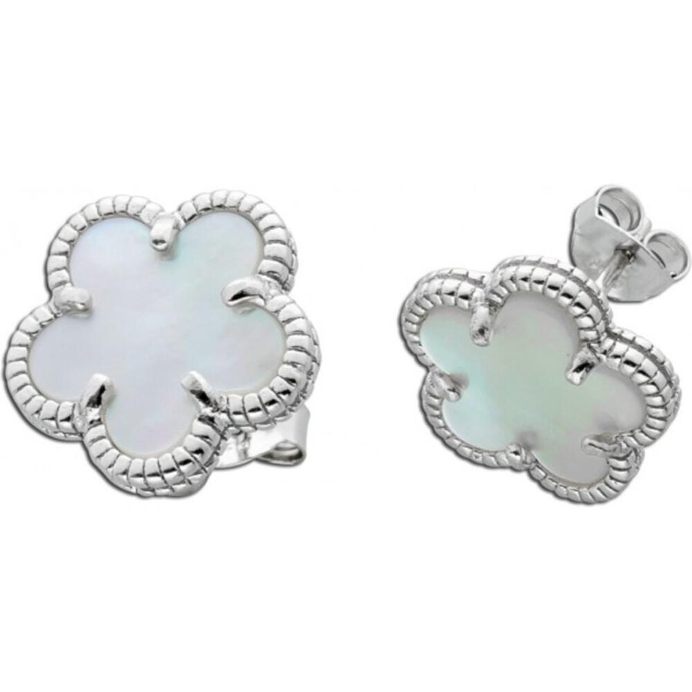 Blumenohrstecker weißen Perlmutt Silber 925 Edelsteinschmuck 1