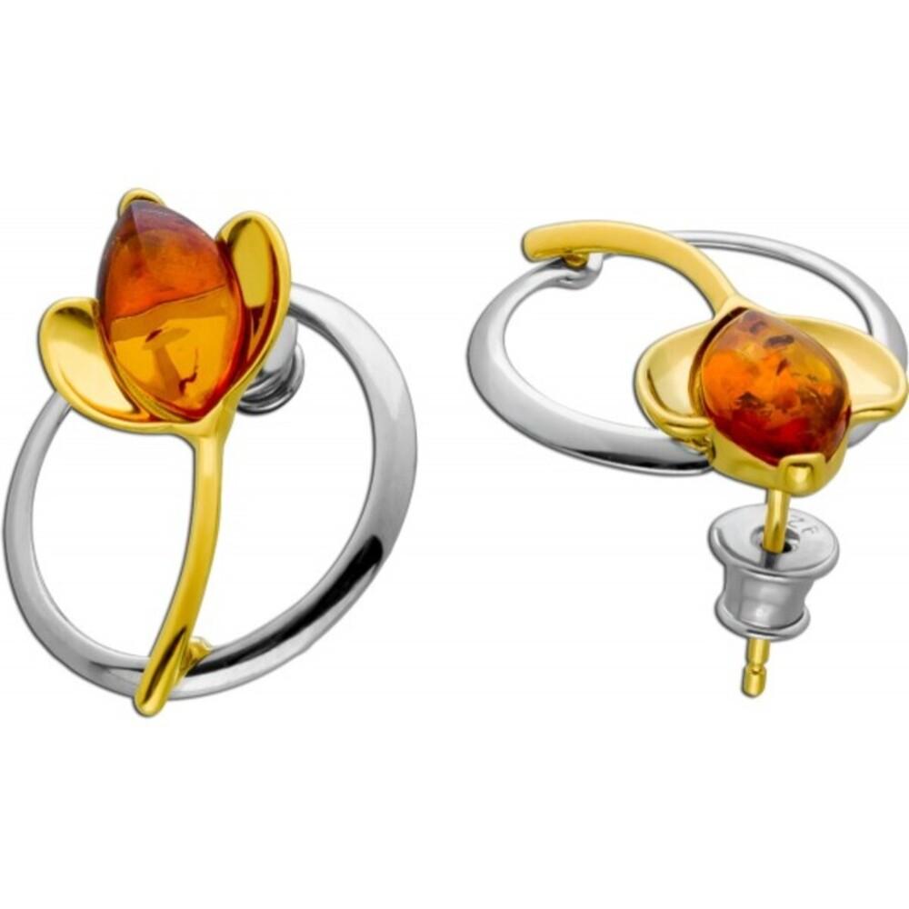 Tulpen Edelstein Ohhringe Ohrstecker Silber 925 teils vergoldet brauner Bernstein Cabochon_01