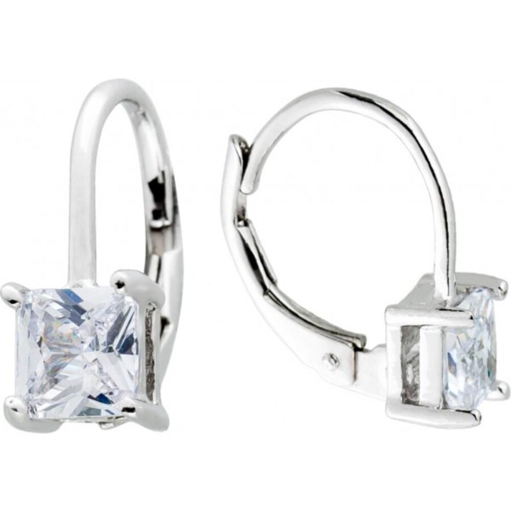 Quadratische Ohrhänger weißen Zirkonia Silber 925 Damen Ohrringe