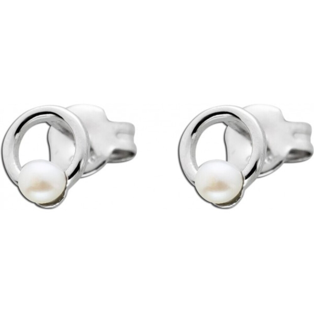 Kreisförmige Perlen Ohrstecker Süßwasserzuchtperlen Silber 925  1