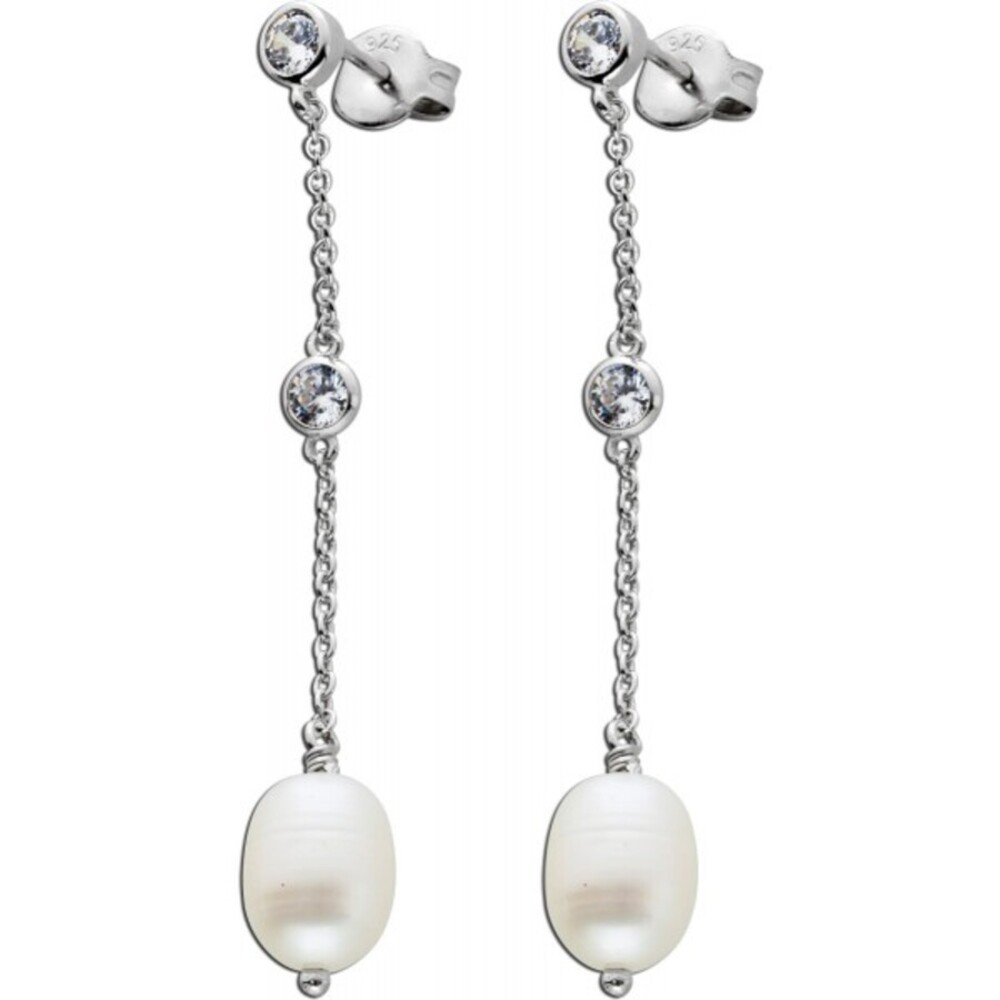 Lange Perlen Ohrhänger weißen Süßwasserzuchtperlen Silber 925 Zirkonia  1
