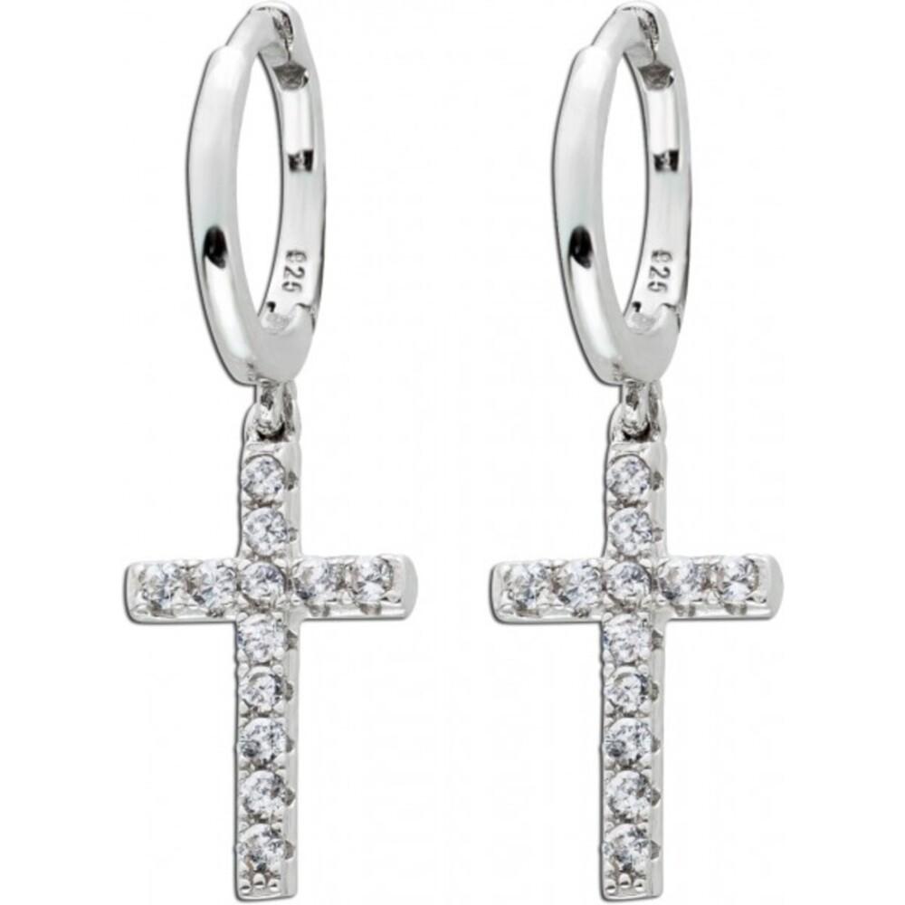 Klappcreolen Ohrringe Silber 925 beweglichen Kreuzen weißen Zirkonia 1