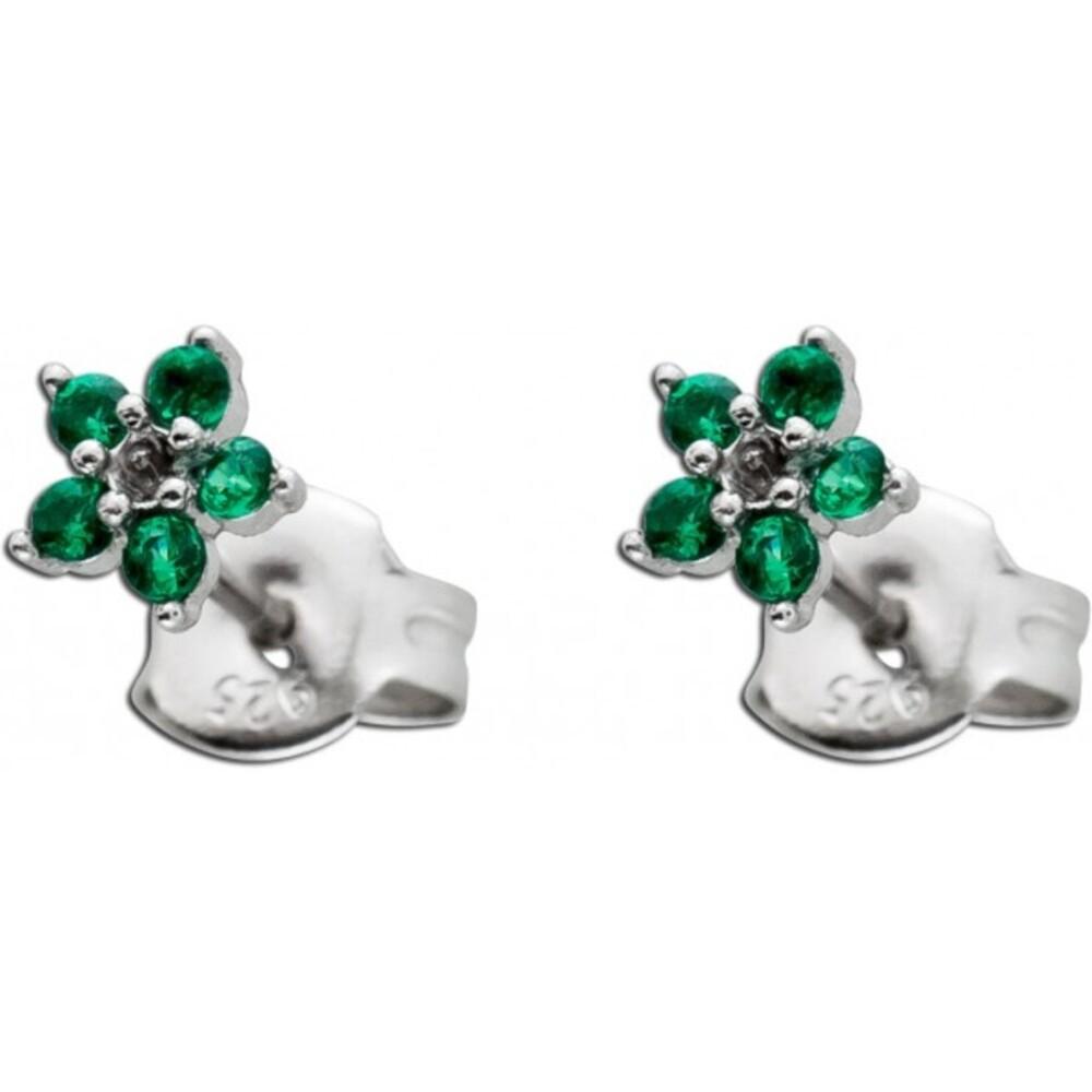 Grüne Blumen Ohrstecker Silber 925 Smaragden synthetisch Ohrschmuck  1