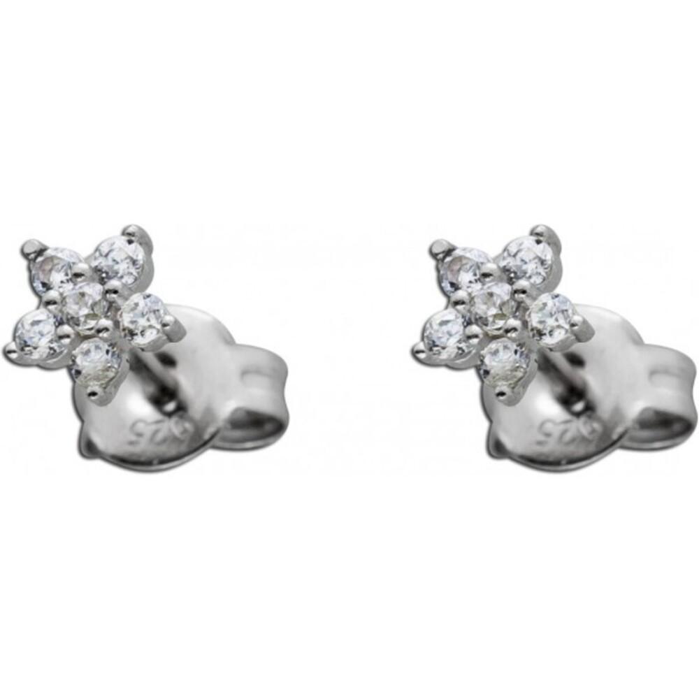 Blumen Ohrstecker weißen Zirkonia Ohrringe Silber 925  1