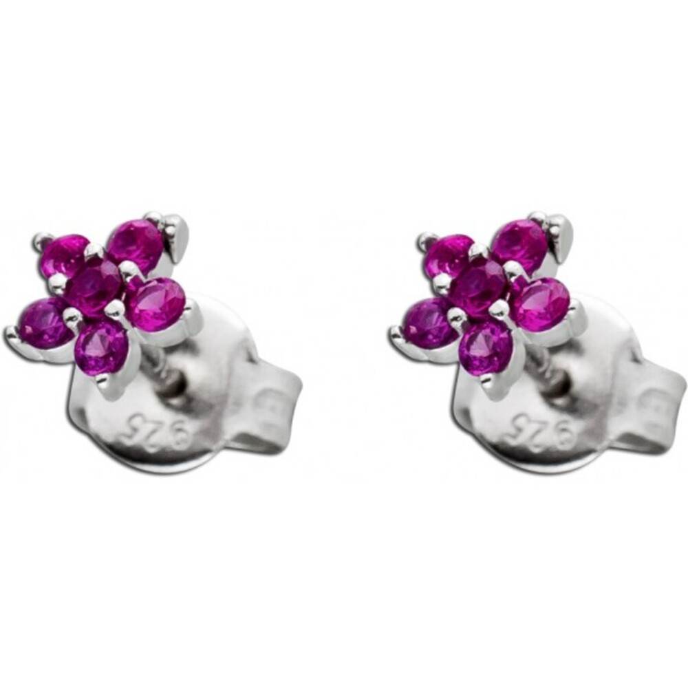 Blumen Ohrstecker Rubinen Silber 925 Ohrschmuck synthetisch 1