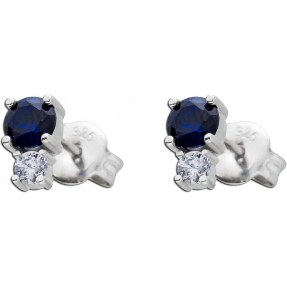 Dunkelblaue Ohrstecker Ohrringe weißen Zirkonia Silber 925 Saphire synthetisch 1
