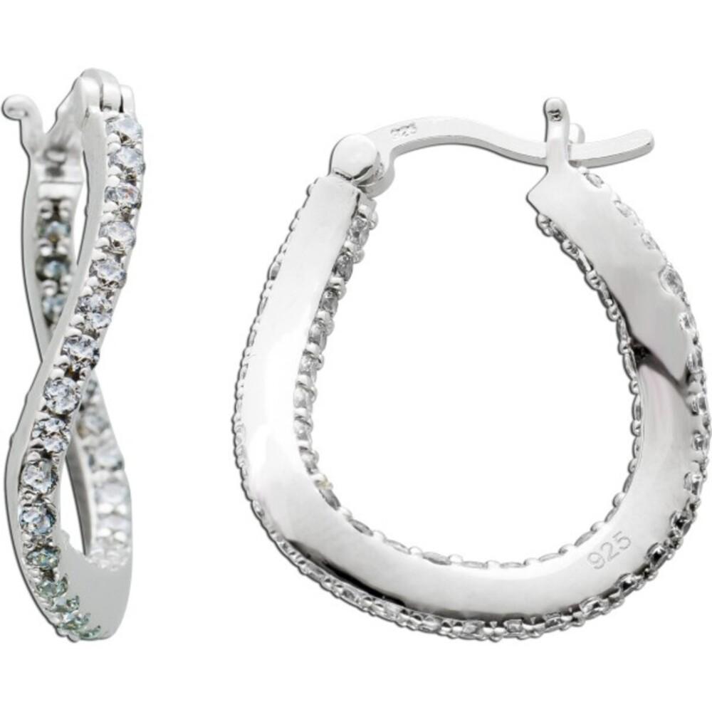 Zirkonia Creolen Silber 925 Damen Ohrringe Zirkoniaschmuck 1