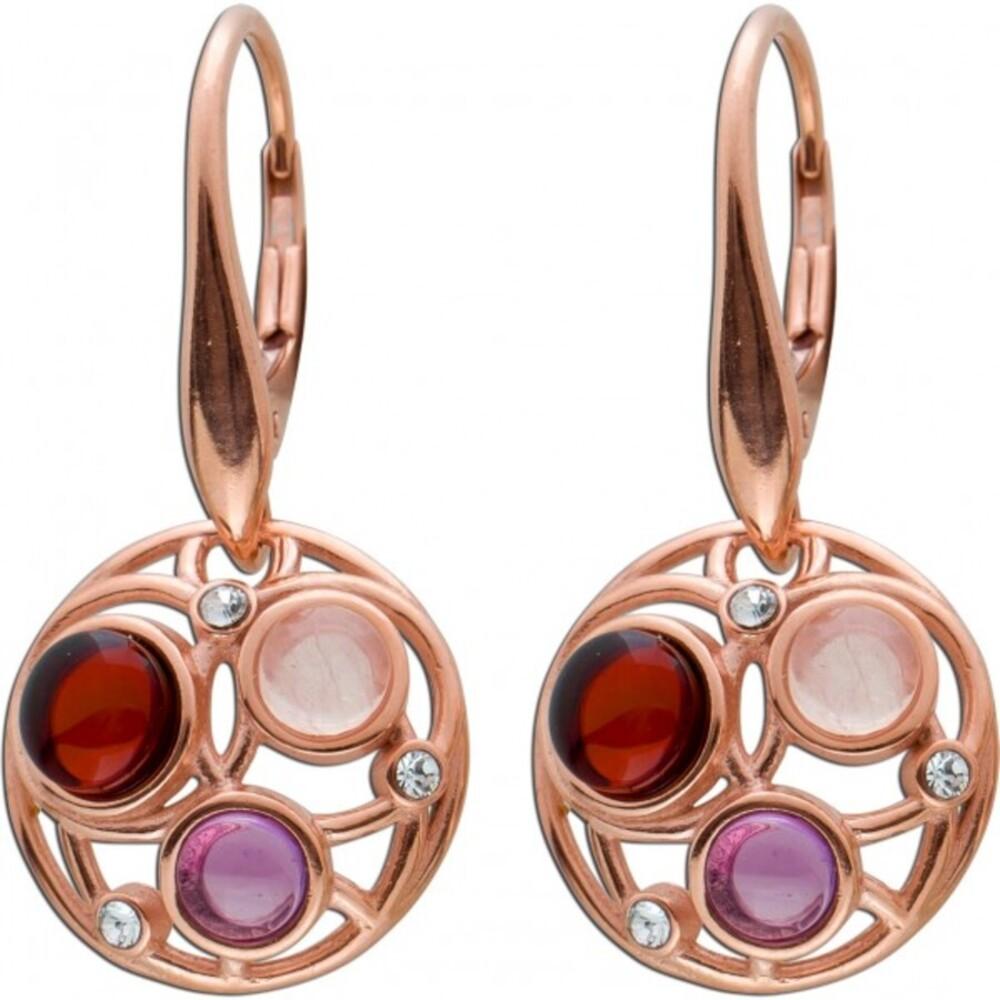 Eselstein Ohrringe Ohrhänger Silber 925/- rose vergoldet Brisur Cherry Bernstein Rosenquarz violetter Amethyst_0
