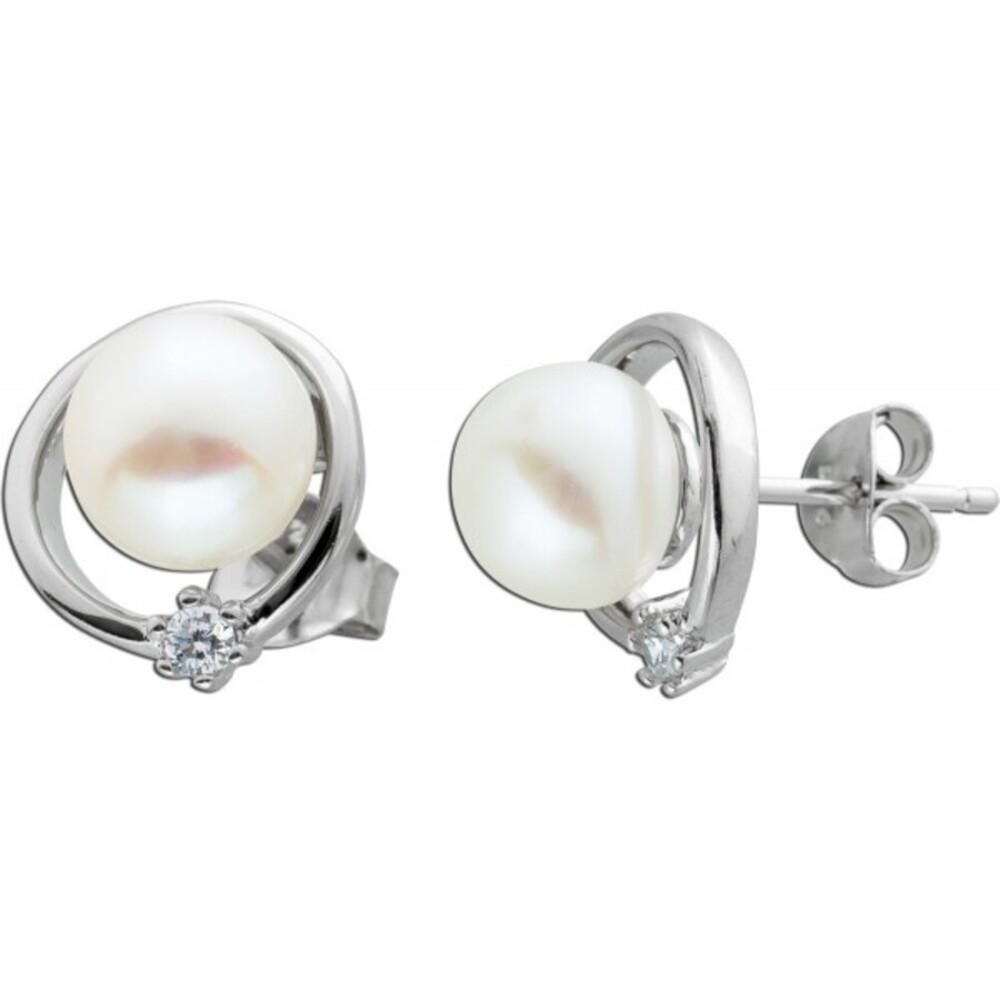 Ohrstecker Süßwasserperlen Silber 925  Zirkonia Ohrringe  1