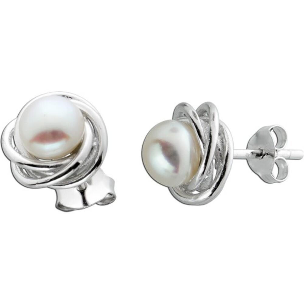 Knoten Ohrringe Perlen Ohrstecker Silber 925 weisse Süsswasserperle