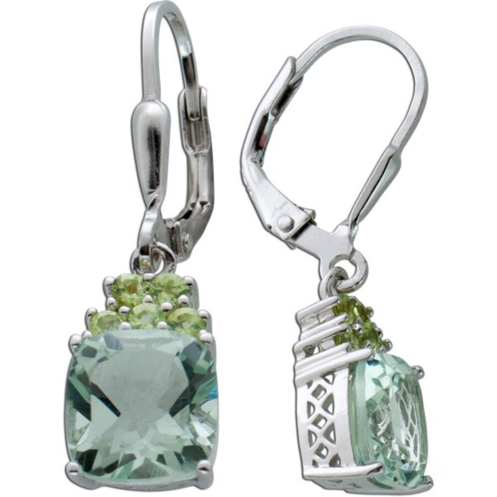 Edelstein Ohrringe grünen Amethyst Silber 925 Peridot  1