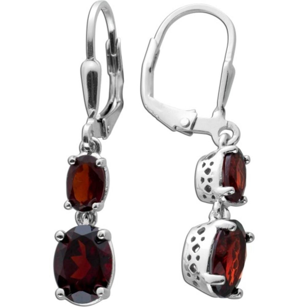 Edelstein Ohrringe roten Granaten Silber 925 Ohrschmuck 1