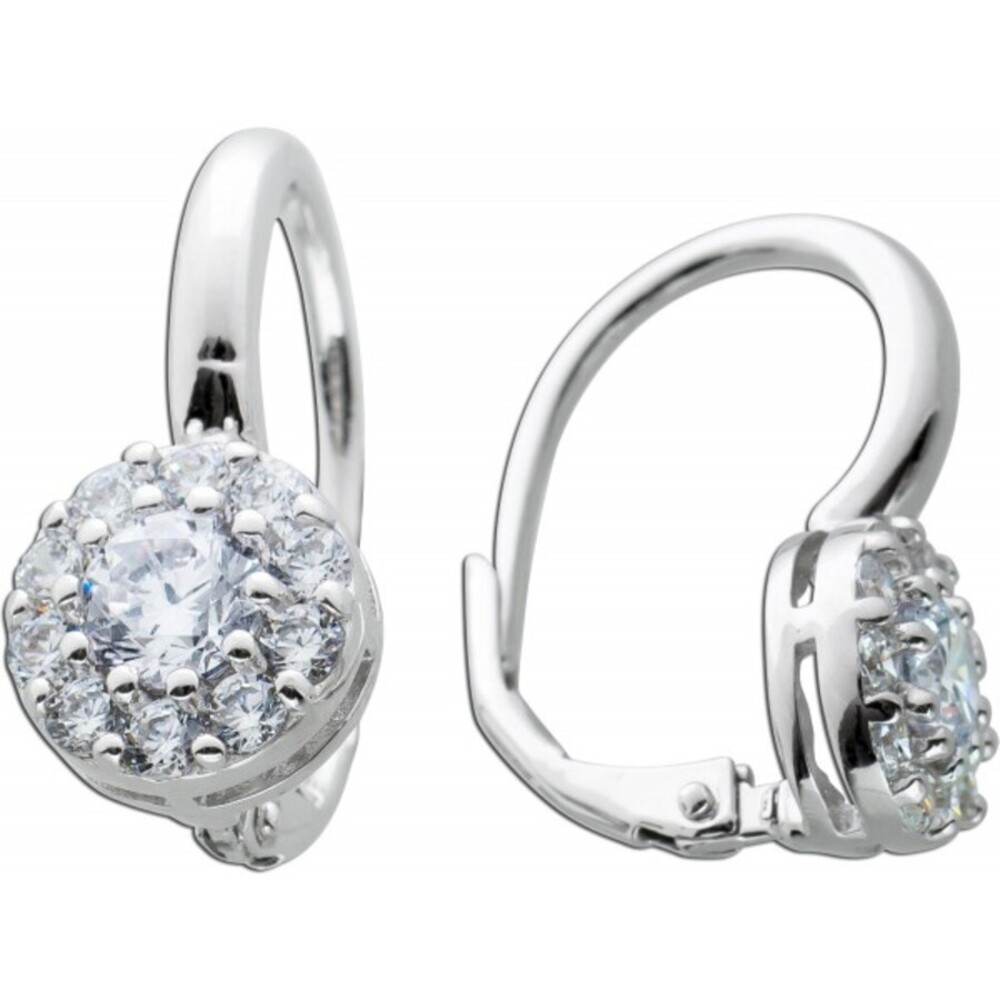 Ohrringe weißen Zirkonia Silber 925 Ohrschmuck 1