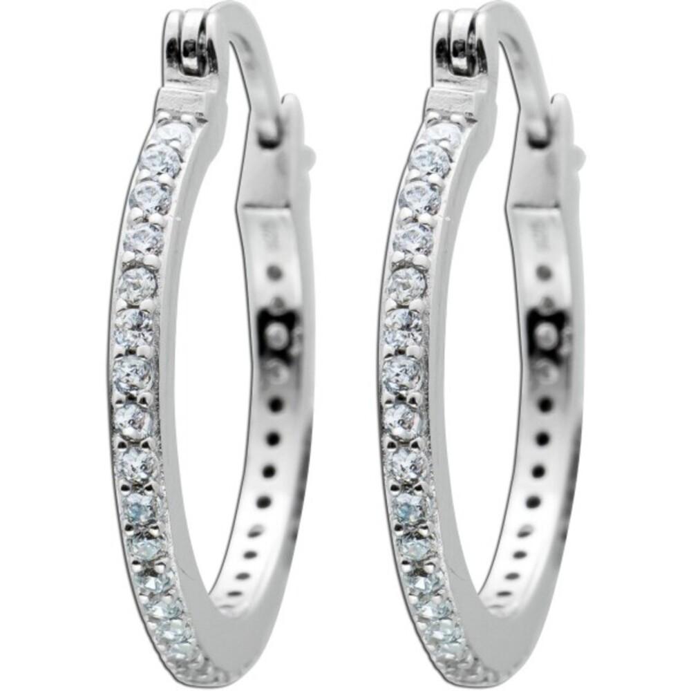Creolen weißen Zirkonia Steinen Silber 925 Ohrringe  1
