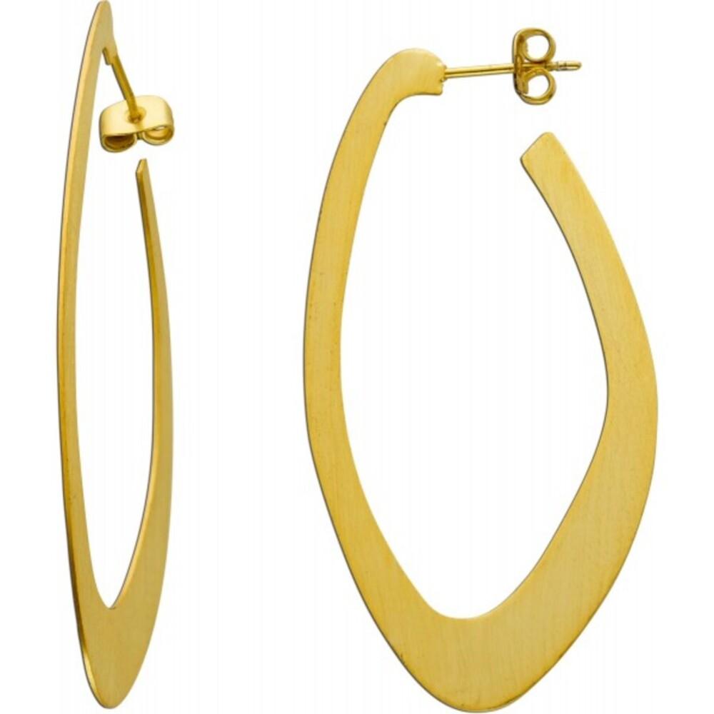 Vivien Lee Designer Ohrstecker Ohrringe Creolen in Creolenform Edelstahl gelb vergoldet mattiert_0