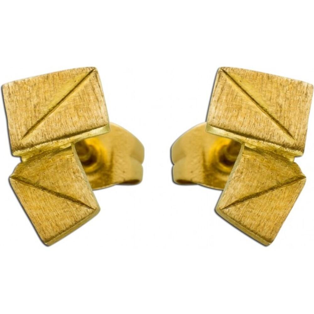 VIVIEN LEE Designer Ohrstecker Ohrringe Edelstahl gelb vergoldet Lapponia Look mattiert_01