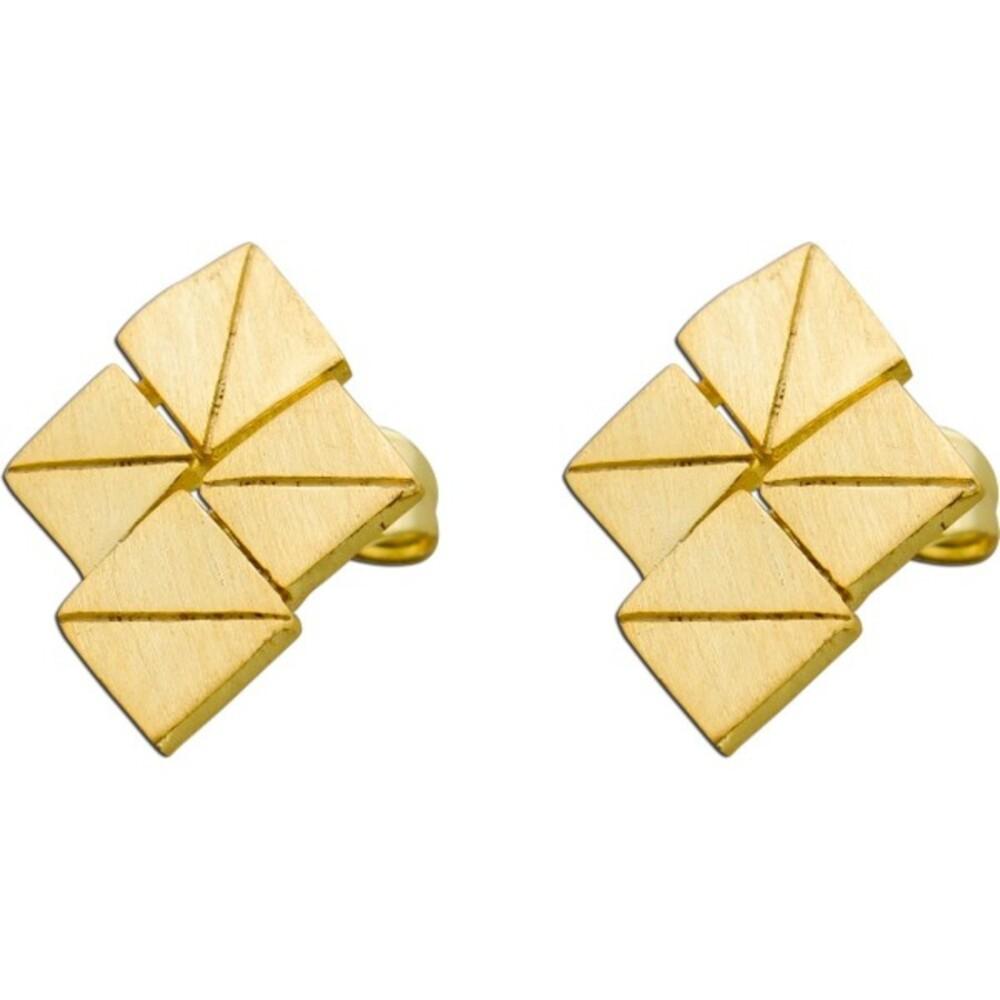 VIVIEN LEE Lange Designer Ohrstecker rautenförmige Ohrringe Edelstahl gelb vergoldet Lapponia Look mattiert_0