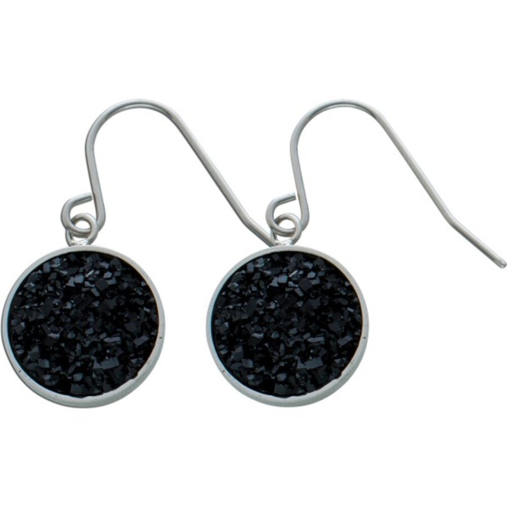 Schwarze Kristall Ohrhänger Edelstahl Ohrschmuck  1