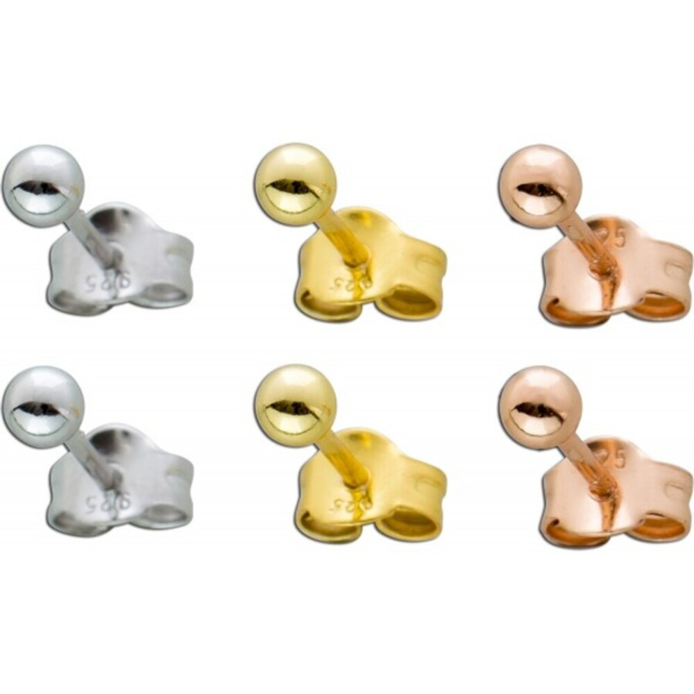 Kugel Ohrstecker Ohrringe Schmuck Set Sterling Silber 925 rhodiniert rose und gelb vergoldet drm 3mm Damen Kinder