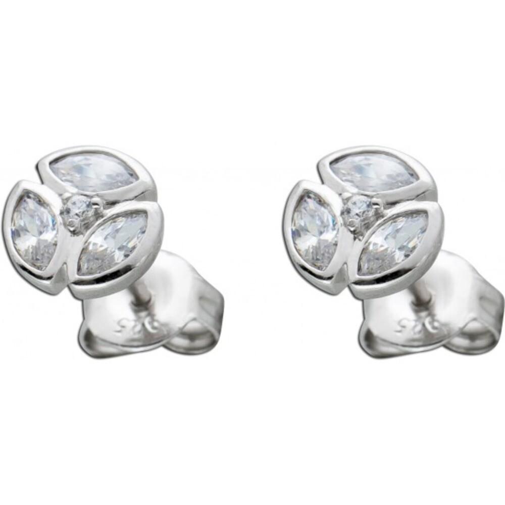 Ohrstecker Ohrringe Sterling Silber 925 navetteförmig rund weisse Zirkonia drm 6,6mm