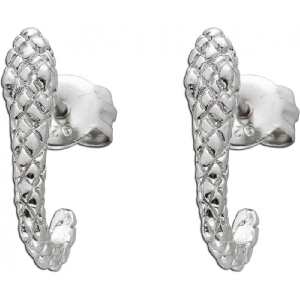 Damen Ohrstecker Ohrringe Silber 925 Schlangen Motiv Halbcreolen Optik 14x3mm