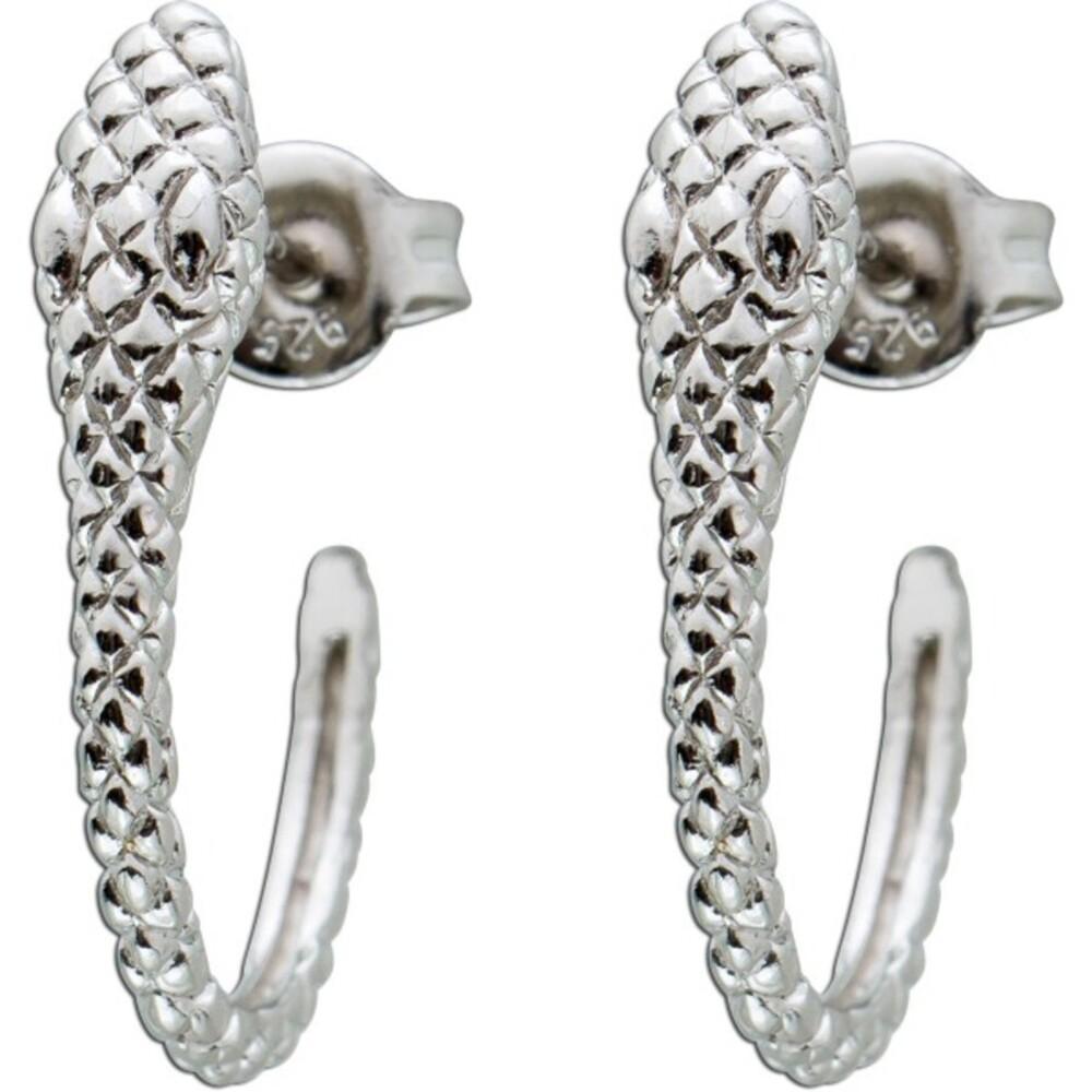 Damen Ohrstecker Ohrringe Silber 925 Schlangen Motiv Halbcreolen Optik 20x5mm