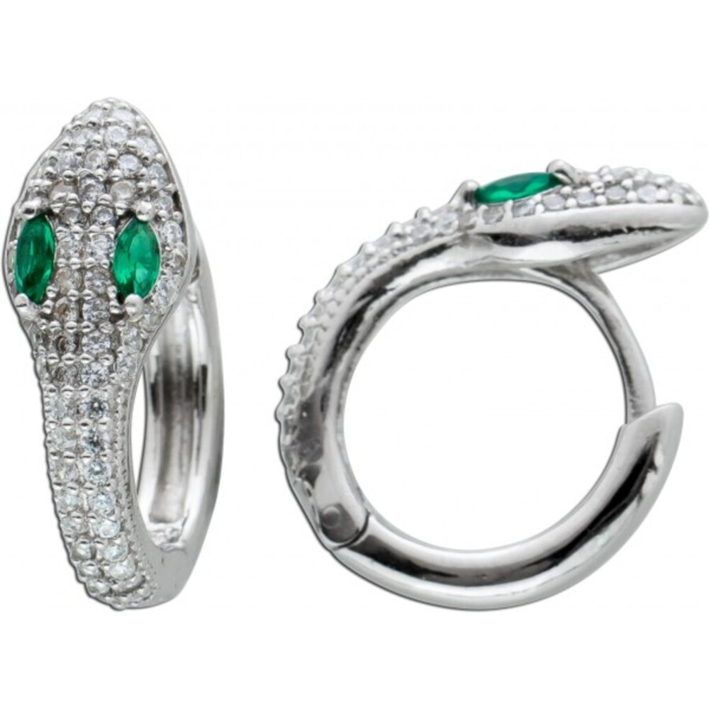 Schlangen Klappcreolen Silber 925 Schlangenmotiv  Ohrringe weisse grüne Zirkonia 16x6mm