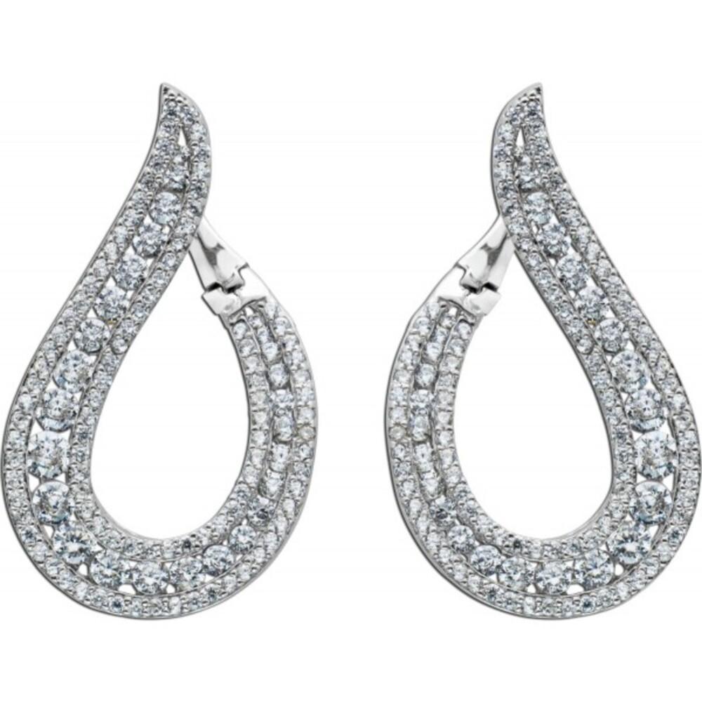 Tropfenförmige Ohrringe Creolen Silber 925 Klappverschluss klare Zirkonia  31x18mm