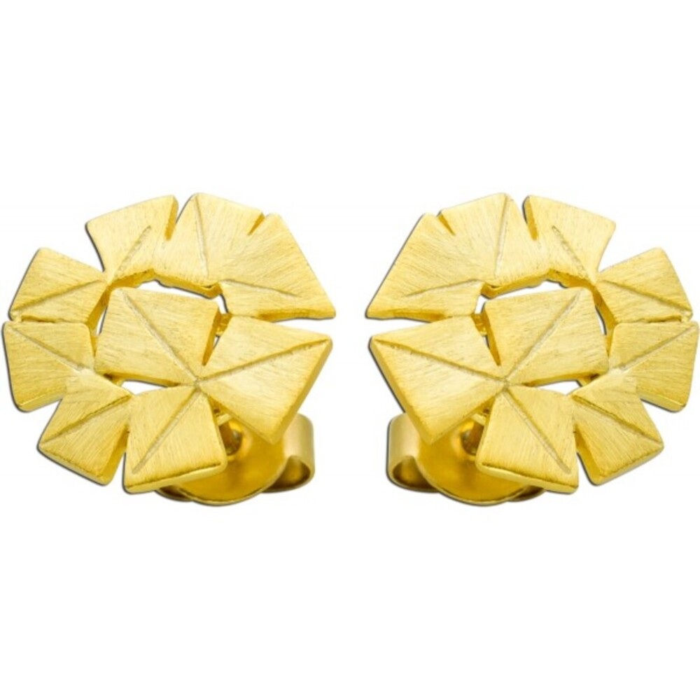 Vivien Lee Designer Ohrstecker Ohrringe Edelstahl gelb vergoldet Lapponia Look  mattiert VL Kollektion