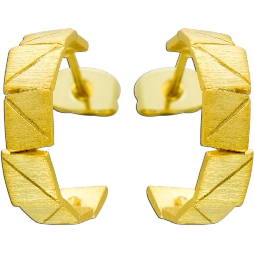 Vivien Lee Designer Ohrstecker Ohrringe Creolenoptik Edelstahl mattiert Lapponia Look gelb vergoldet VL Kollektion