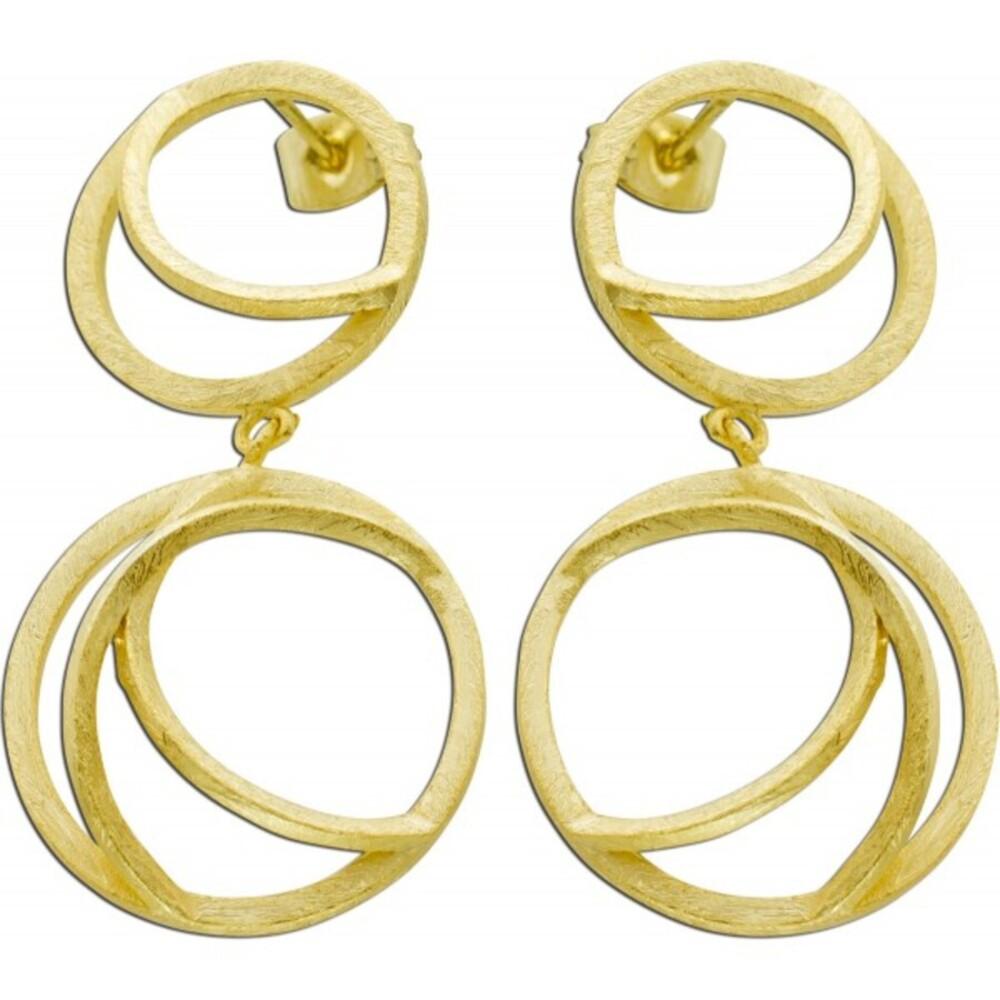 Lange Vivien Lee Designer Ohrringe Ohrstecker Kreis Motiv Edelstahl kratzmattiert gelb vergoldet VL Kollektion