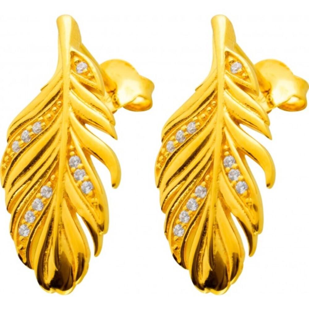Ohrstecker Federform Silber 925 Vergoldet Klare Zirkonia