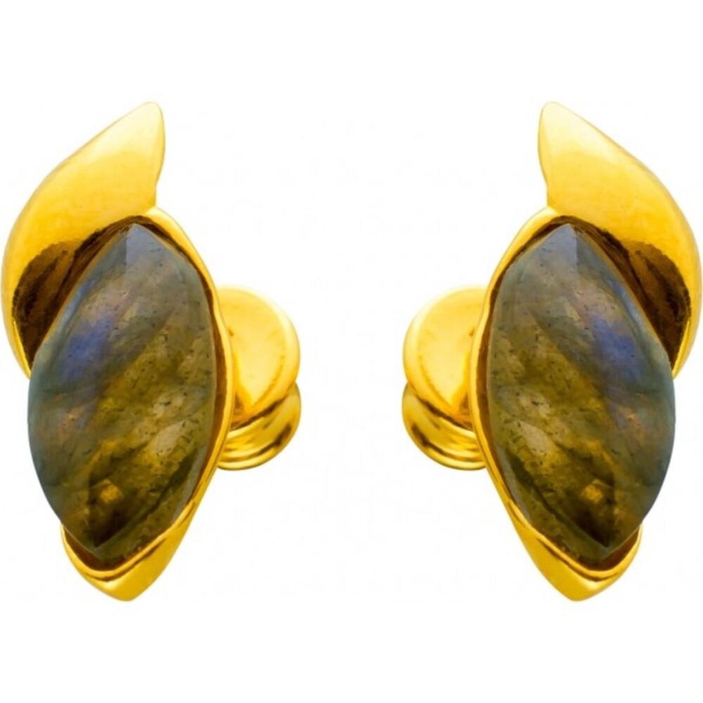 Labradorit Edelstein Ohrstecker Ohrringe Silber 925 gelb vergoldet grau grün Navette Cabochon 15,5x7mm