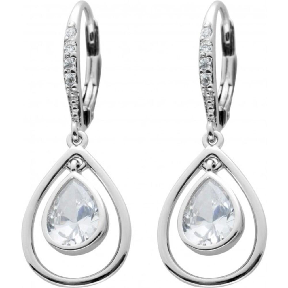 Bewegliche Brisur Ohrhänger Silber 925 Klare Zirkonia